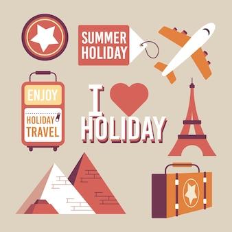 빈티지 스타일의 여행 스티커 컬렉션