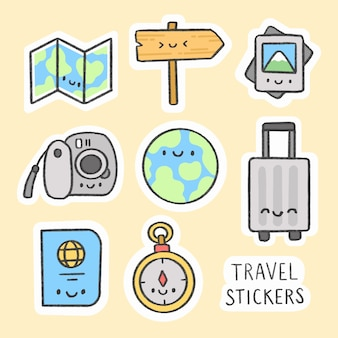 Travel sticker hand drawn cartoon collection