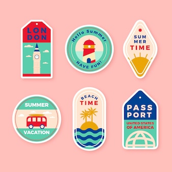 Travel sticker pack in 70s style