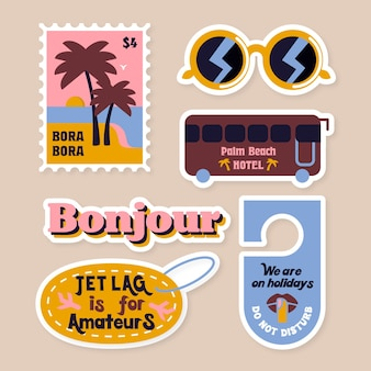 Travel sticker set in 70s style