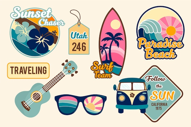 Travel sticker set in 70s style
