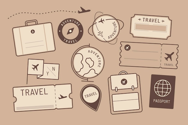 Travel stickers and badge set