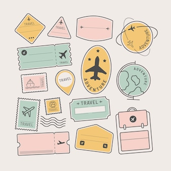 Set di adesivi e badge da viaggio