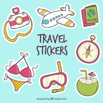 Travel stickers collection with elements