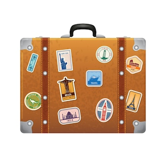 Travel stickers on retro leather suitcase. vector labels set