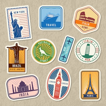 Travel stickers set with different worldwide architectural symbols. vector labels with grunge textur