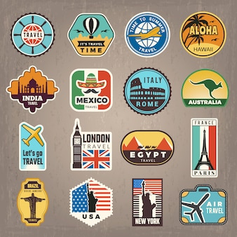 Travel stickers. vacation badges or logos for travelers vector retro pictures