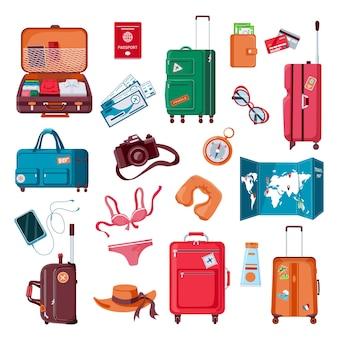 여행 물건. 만화 수하물, 옷, 지도, 카메라, 여권 및 비행기 티켓. 포장된 가방. 여름 휴가 액세서리 벡터 세트. 일러스트 여행가방 가방, 여행용 의류
