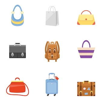 Travel suitcase, business briefcase, shopping bag and backpack icons