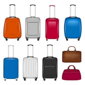 Travel suitcase icon set