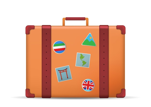 白で隔離の旅行スーツケースのイラスト