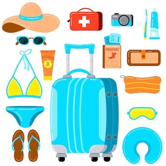 흰색 배경에 고립 된 여성 것 벡터 세트와 여행 가방. 작고 저렴한 여행 가방, 모자, 안경, 수영복, 자외선 차단제, 슬리퍼, 여권, 티켓, 지갑, 카메라 삽화.
