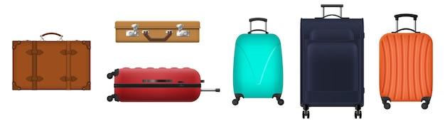 旅行のスーツケースやバッグ、白い背景で隔離の荷物。観光、休暇旅行、旅行用のバッグ。車輪付きのリアルなトロリーケース、古い革製のブリーフケース。 3dベクトル図