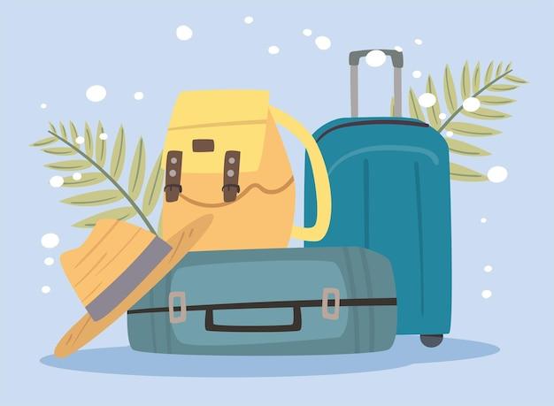 Дорожные чемоданы и символы шляпы
