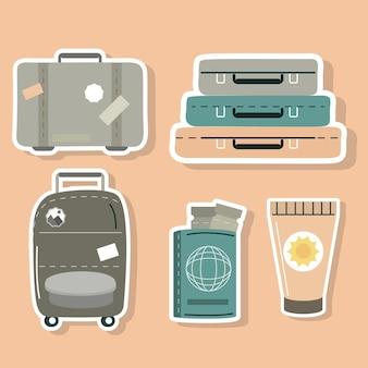 旅行用スーツケースとパスポート