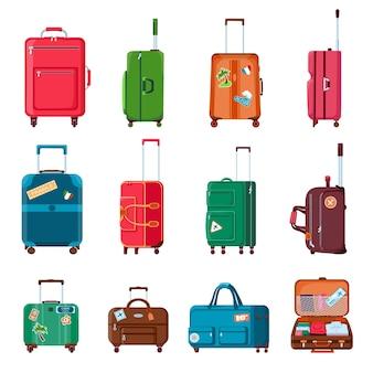 旅行スーツケース。バックパック、バッグ、プラスチック製、またはホイール付きのオープンスーツケース。ステッカー付きの漫画の観光荷物。手荷物ベクトルセット。旅行用の手荷物と荷物、スーツケースとバッグのイラスト