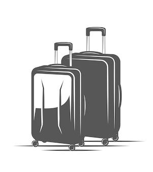 白い背景で隔離の旅行スーツケース。