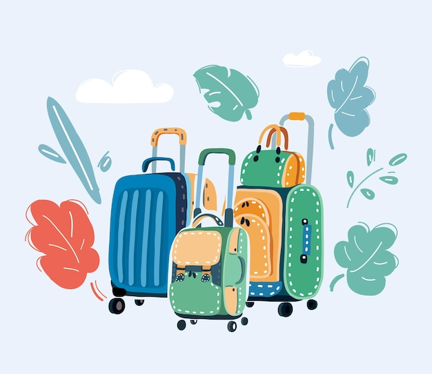 Travel suitcases on white