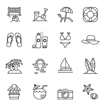 Travel and summer beach icon set.