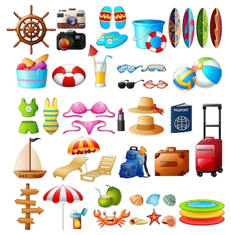 Travel and summer holiday icon set