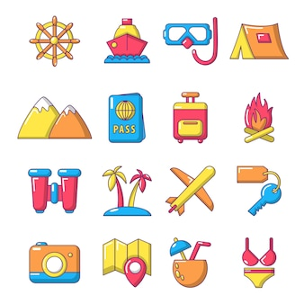 Travel summer icons set