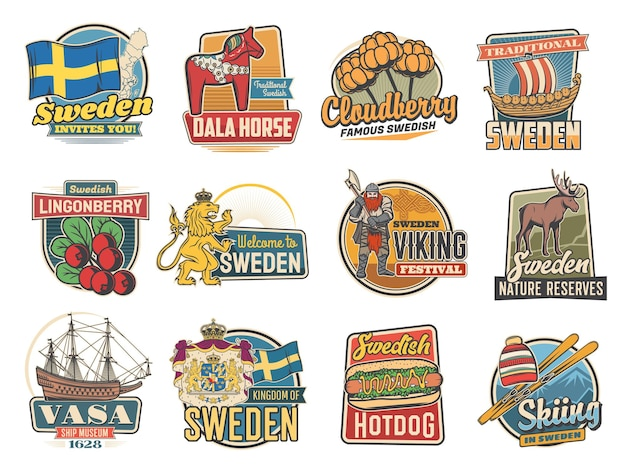 Travel to sweden with traditional swedish landmarks. retro labels with royal lion, ship museum, lingonberry and cloudberry, viking festival, nature reserves or dala horse isolated emblems