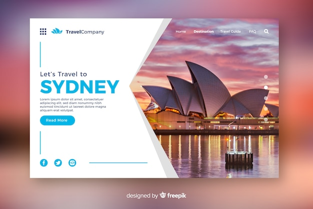 Travel to sydney landing page with photo