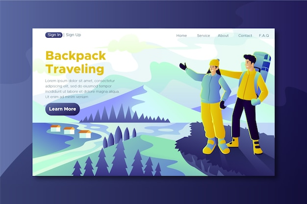 Travel template landing page