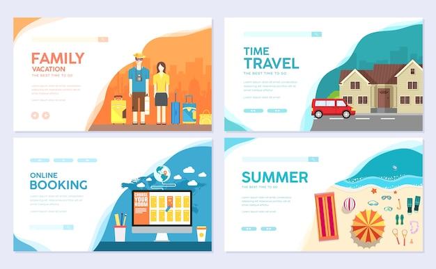 Flyear、雑誌、ポスター、本の表紙、バナーの旅行テンプレート。夏休み旅行のインフォグラフィック。