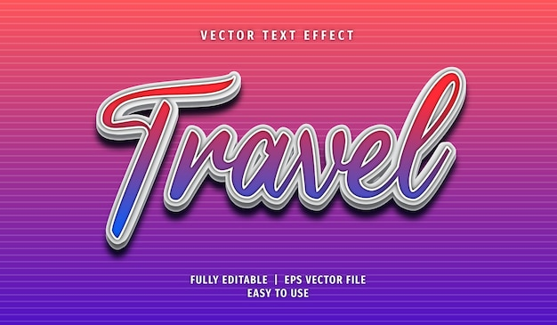 Travel text effect editable text style