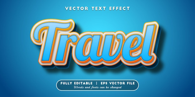 Travel text effect, editable text style