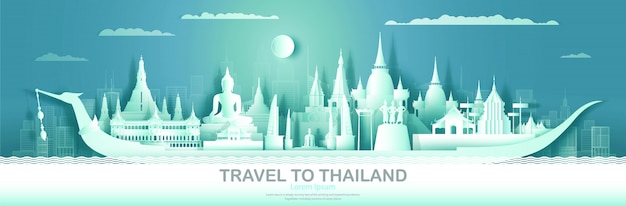 Travel thailand top world famous palace and castle architecture.