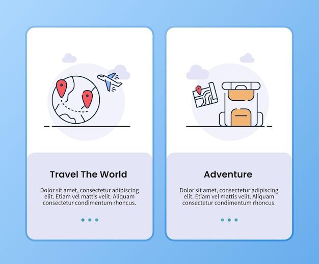 모바일 앱 템플릿 탑승을 위한 세계 모험 캠페인 여행