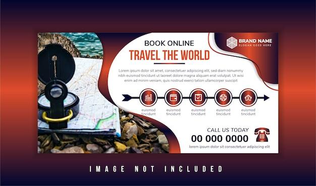 Путешествие по миру туры баннер шаблон горизонтальный рекламный бизнес шаблон макета баннера