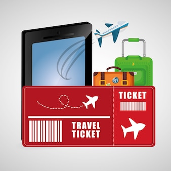 Travel ticket smartphone baggage airplane vacation business concept