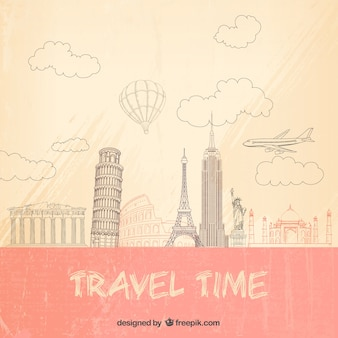 Travel time background in sketchy style