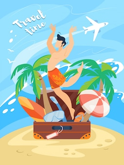Travel time banner with happy man in swimming shorts jumping out of suitcase with traveling attributes