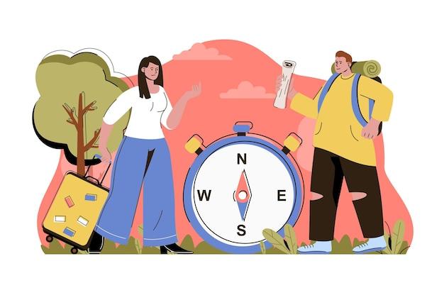 バックパックを持った旅行時間の概念の男性とスーツケースを持った女性が旅行に行きます
