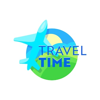 Travel time emblem with airplane over earth landscape. creative icon for traveling agency service or mobile phone application, traveling label isolated on white background. cartoon vector illustration