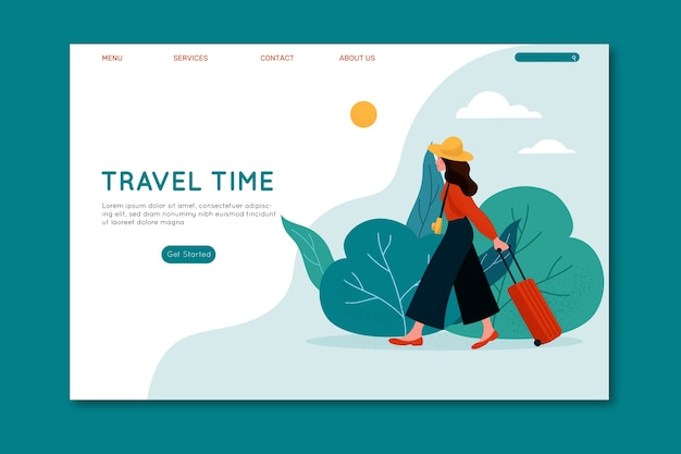 Travel time female with luggage landing page