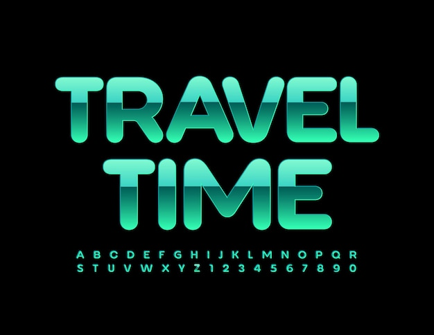 Travel time glossy green font metallic alphabet letters and numbers set
