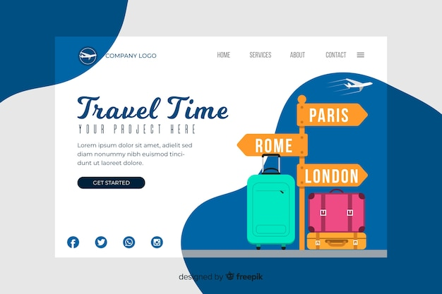 Travel time landing page template