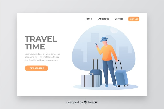 Travel time landing page with illustration