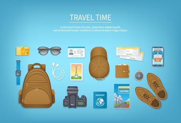 移動時間。休暇、旅行、旅行、旅行の準備。