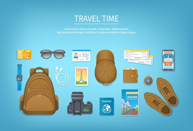 Travel time. preparing for vacation, travel, journey, trip.