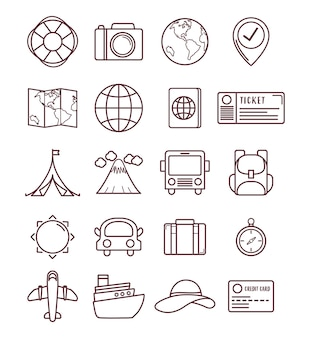 Travel time related icons over white background