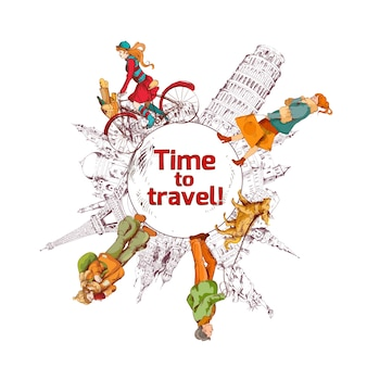 여행 시간 스케치 컬러 포스터