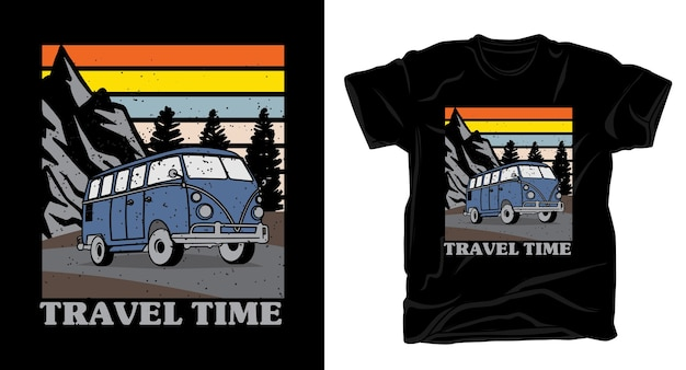 Типографика в стиле ретро с винтажной футболкой с фургоном и природой