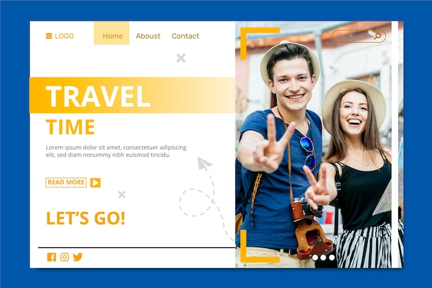 Travel time with couple making peace sign landing page