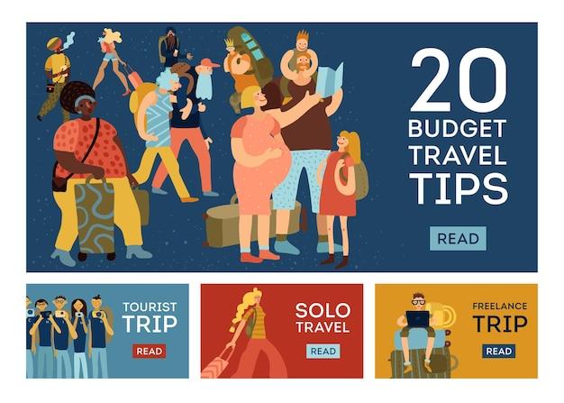 Set di modelli orizzontali di concetto di consigli di viaggio.